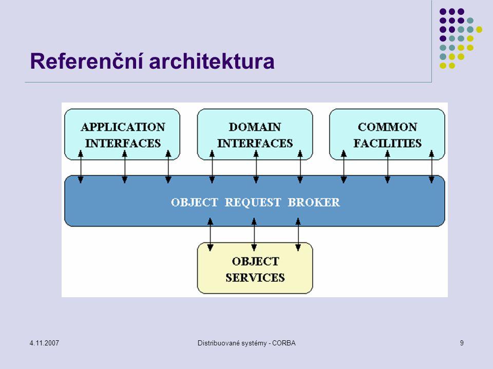 4.11.2007Distribuované systémy - CORBA30 Přenos zpráv transient (přechodná) komunikace – zpráva je v komunikačním kanálu pouze tehdy, pokud běží klient i server persistentní (přetrvávající) komunikace – zpráva je v komunikačním kanálu dokud nemůže být doručena (message queueing model)
