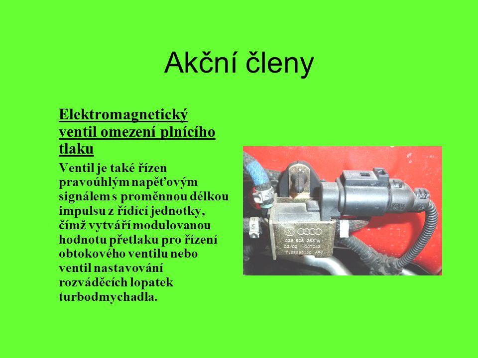 Akční členy Elektromagnetický ventil omezení plnícího tlaku Ventil je také řízen pravoúhlým napěťovým signálem s proměnnou délkou impulsu z řídící jed