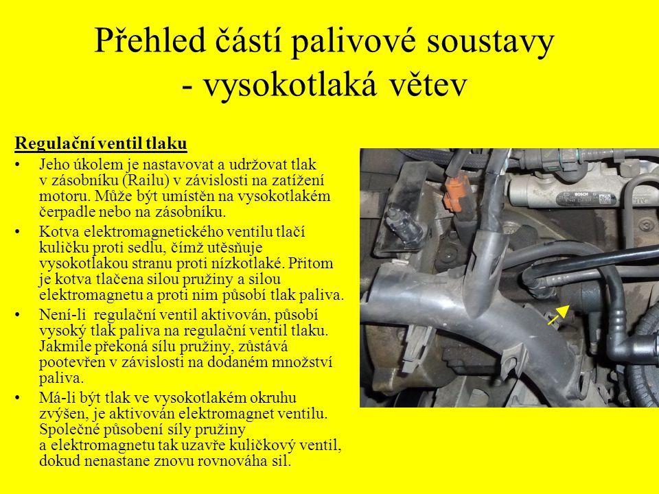 Přehled částí palivové soustavy - vysokotlaká větev Regulační ventil tlaku Jeho úkolem je nastavovat a udržovat tlak v zásobníku (Railu) v závislosti