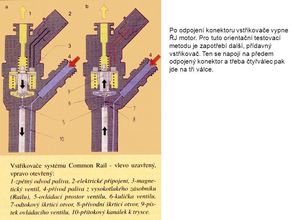Po odpojení konektoru vstřikovače vypne ŘJ motor. Pro tuto orientační testovací metodu je zapotřebí další, přídavný vstřikovač. Ten se napojí na přede