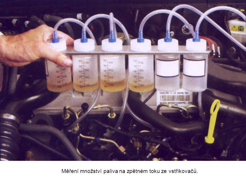 Měření množství paliva na zpětném toku ze vstřikovačů.