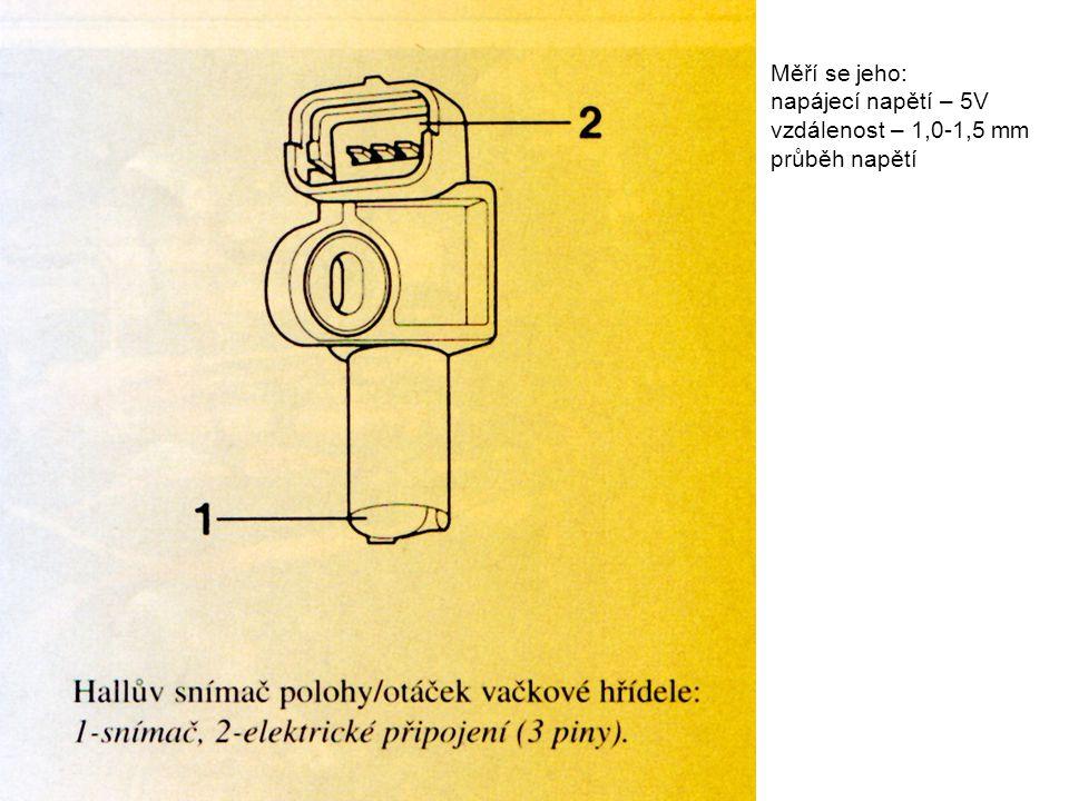 Měří se jeho: napájecí napětí – 5V vzdálenost – 1,0-1,5 mm průběh napětí