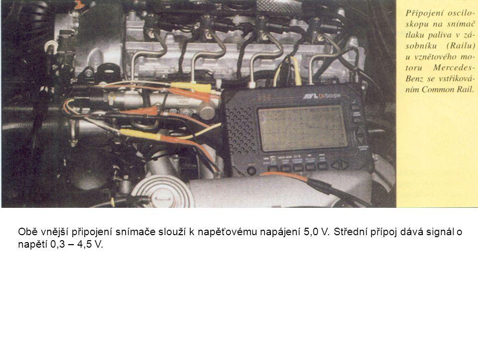 Obě vnější připojení snímače slouží k napěťovému napájení 5,0 V. Střední přípoj dává signál o napětí 0,3 – 4,5 V.