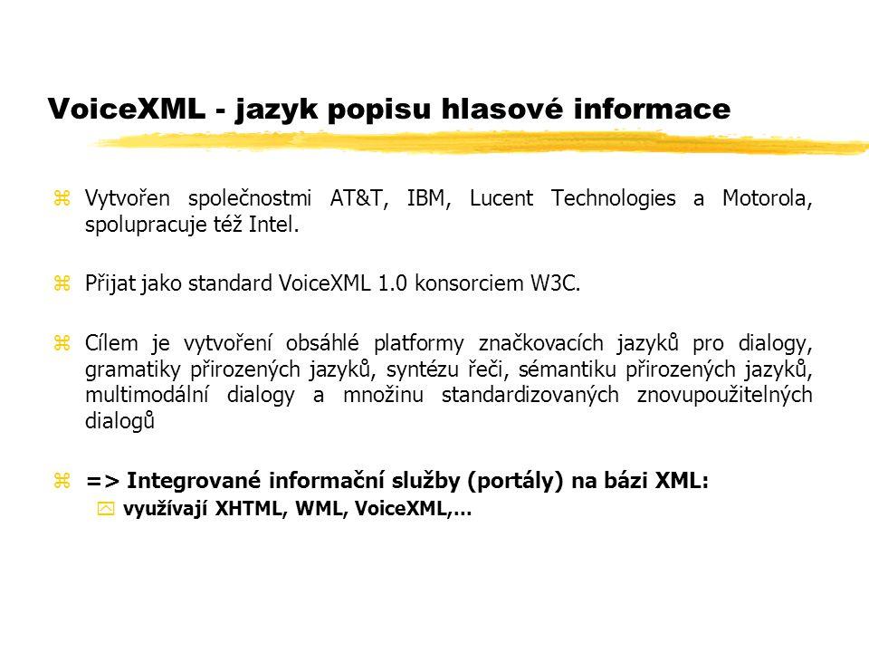 VoiceXML - jazyk popisu hlasové informace zVytvořen společnostmi AT&T, IBM, Lucent Technologies a Motorola, spolupracuje též Intel. zPřijat jako stand