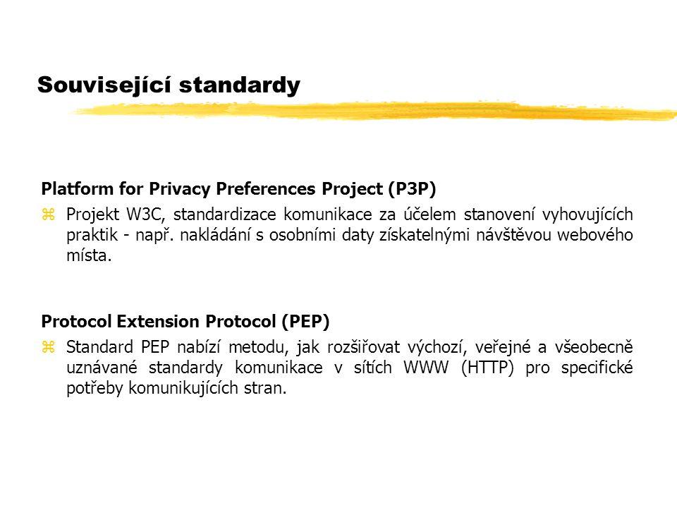 Související standardy Platform for Privacy Preferences Project (P3P) zProjekt W3C, standardizace komunikace za účelem stanovení vyhovujících praktik -