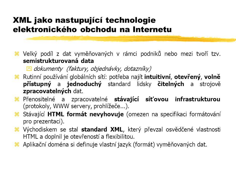 XML jako nastupující technologie elektronického obchodu na Internetu zVelký podíl z dat vyměňovaných v rámci podniků nebo mezi tvoří tzv. semistruktur