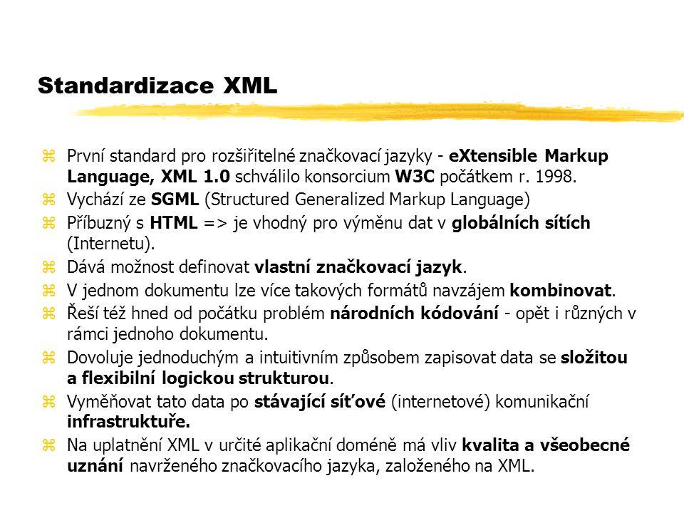 Standardizace XML zPrvní standard pro rozšiřitelné značkovací jazyky - eXtensible Markup Language, XML 1.0 schválilo konsorcium W3C počátkem r. 1998.