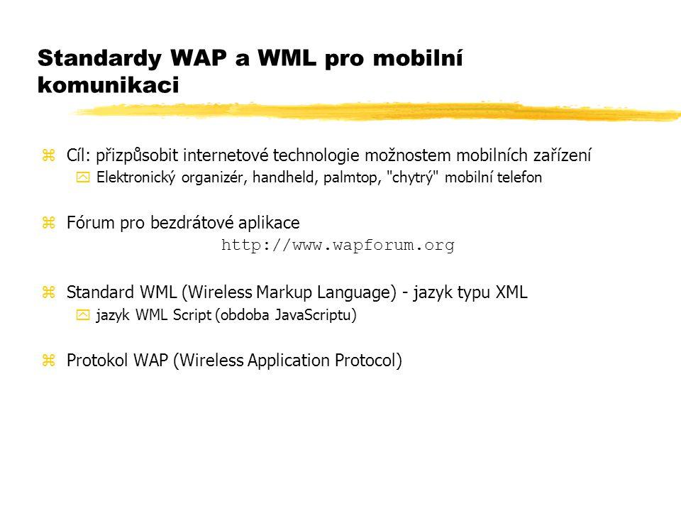 Standardy WAP a WML pro mobilní komunikaci zCíl: přizpůsobit internetové technologie možnostem mobilních zařízení yElektronický organizér, handheld, p