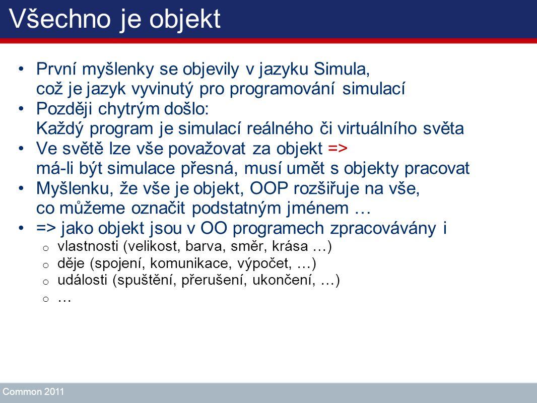 Všechno je objekt První myšlenky se objevily v jazyku Simula, což je jazyk vyvinutý pro programování simulací Později chytrým došlo: Každý program je