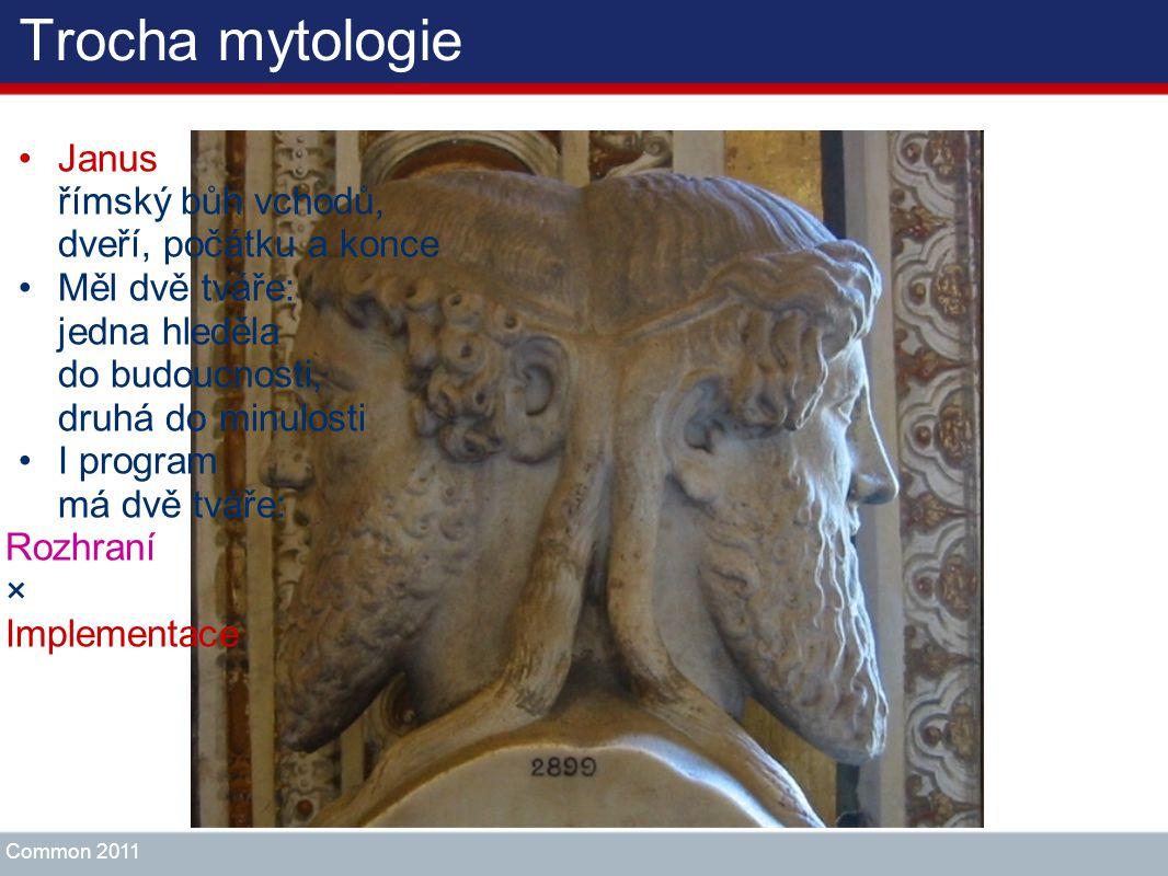 Trocha mytologie Janus římský bůh vchodů, dveří, počátku a konce Měl dvě tváře: jedna hleděla do budoucnosti, druhá do minulosti I program má dvě tvář