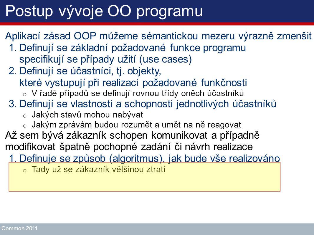 Postup vývoje OO programu Aplikací zásad OOP můžeme sémantickou mezeru výrazně zmenšit 1.Definují se základní požadované funkce programu specifikují s