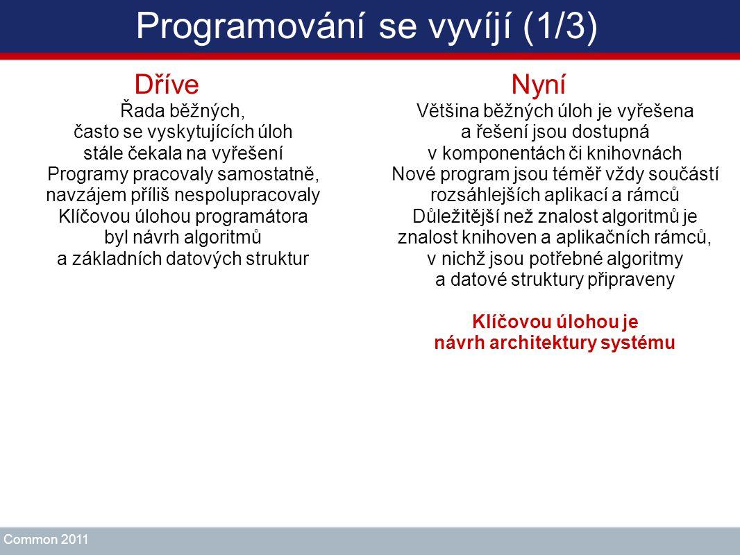 Programování se vyvíjí (1/3) Dříve Řada běžných, často se vyskytujících úloh stále čekala na vyřešení Programy pracovaly samostatně, navzájem příliš n