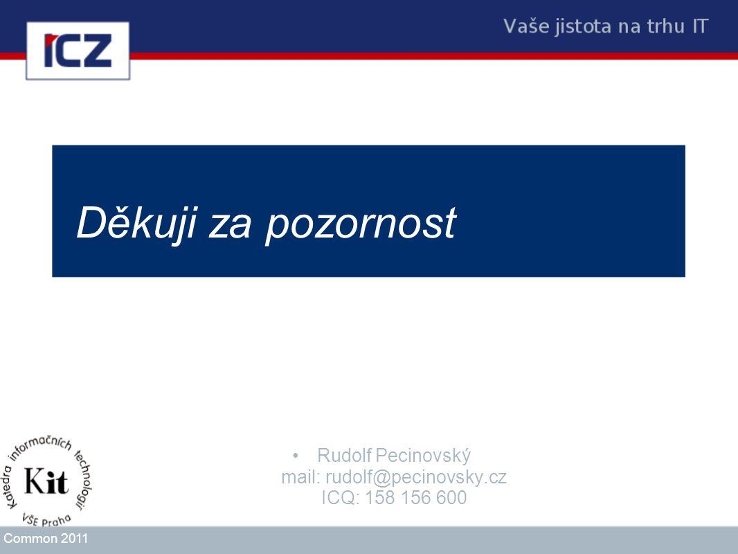 Děkuji za pozornost Rudolf Pecinovský mail: rudolf@pecinovsky.cz ICQ: 158 156 600 Common 2011