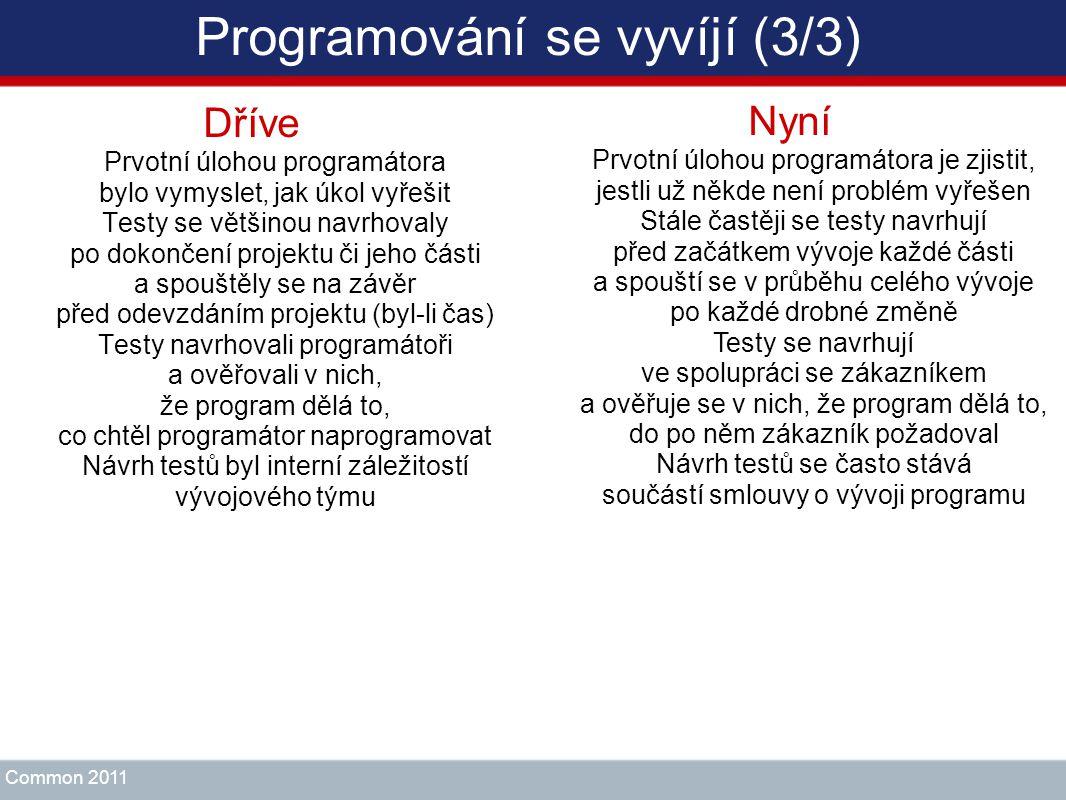 Programování se vyvíjí (3/3) Dříve Prvotní úlohou programátora bylo vymyslet, jak úkol vyřešit Testy se většinou navrhovaly po dokončení projektu či j