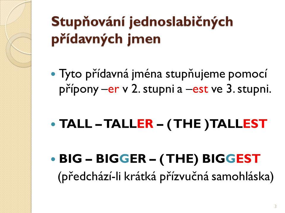 Stupňování jednoslabičných přídavných jmen Tyto přídavná jména stupňujeme pomocí přípony –er v 2.
