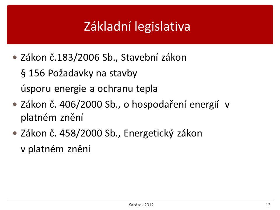 Zákon č.183/2006 Sb., Stavební zákon § 156 Požadavky na stavby úsporu energie a ochranu tepla Zákon č.