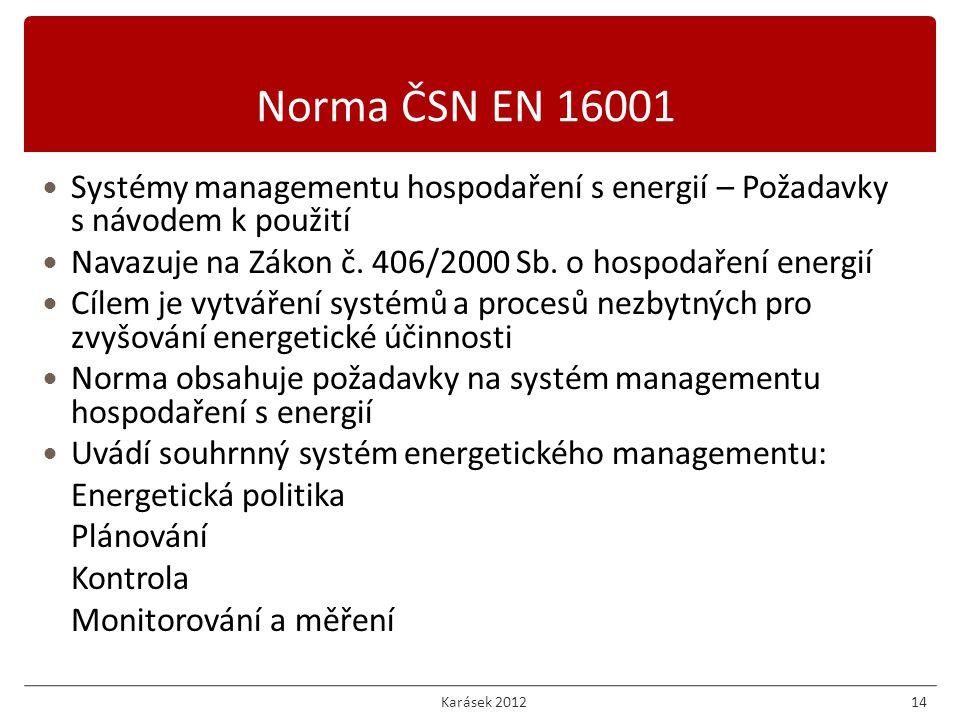 Systémy managementu hospodaření s energií – Požadavky s návodem k použití Navazuje na Zákon č.