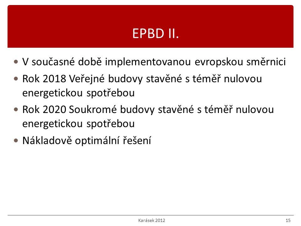 V současné době implementovanou evropskou směrnici Rok 2018 Veřejné budovy stavěné s téměř nulovou energetickou spotřebou Rok 2020 Soukromé budovy stavěné s téměř nulovou energetickou spotřebou Nákladově optimální řešení 15 EPBD II.