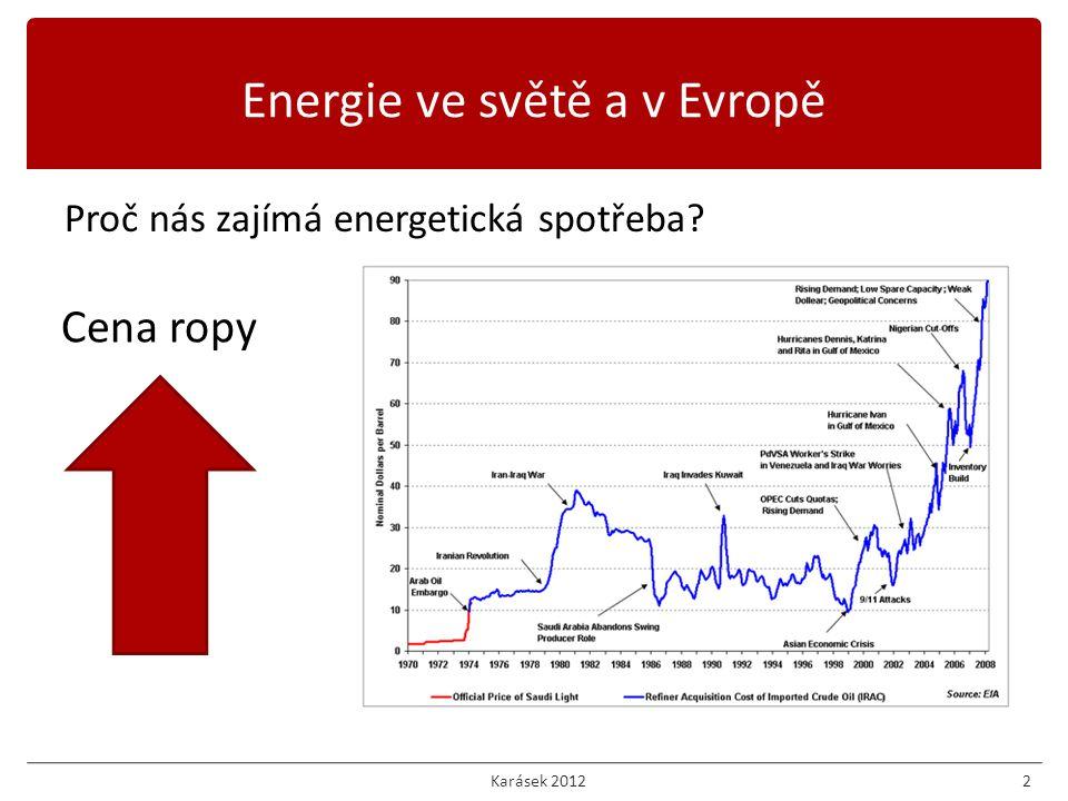 Proč nás zajímá energetická spotřeba? 2 Cena ropy Energie ve světě a v Evropě Karásek 2012