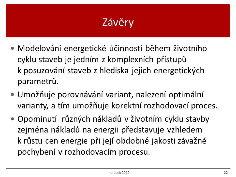 Karásek 201222 Modelování energetické účinnosti během životního cyklu staveb je jedním z komplexních přístupů k posuzování staveb z hlediska jejich energetických parametrů.