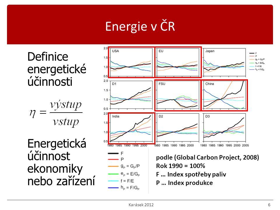 6 Definice energetické účinnosti Energetická účinnost ekonomiky nebo zařízení podle (Global Carbon Project, 2008) Rok 1990 = 100% F … Index spotřeby paliv P … Index produkce Energie v ČR Karásek 2012