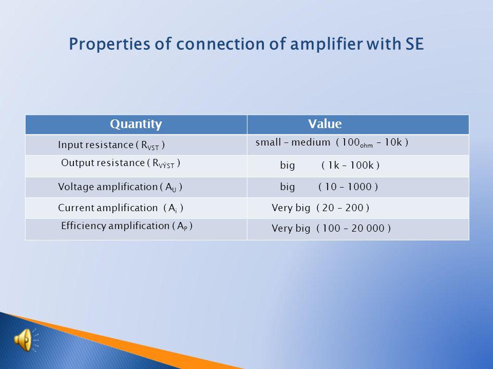 Quantity Value Input resistance ( R VST ) small - medium ( 100 ohm – 10k ) Output resistance ( R VÝST ) big ( 1k – 100k ) Voltage amplification ( A U ) big ( 10 – 1000 ) Current amplification ( A i ) Very big ( 20 – 200 ) Efficiency amplification ( A P ) Very big ( 100 – 20 000 ) Properties of connection of amplifier with SE