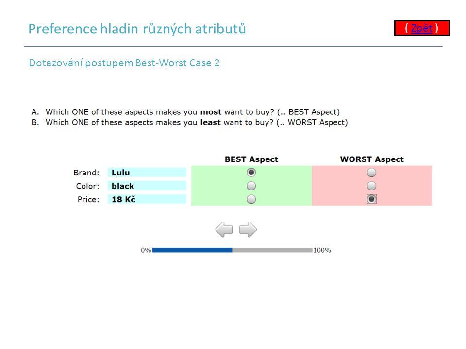 Preference hladin různých atributů ( Zpět ) Dotazování postupem Best-Worst Case 2