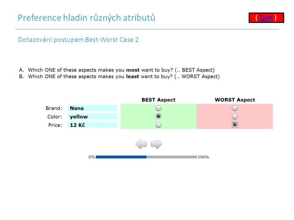 Preference hladin různých atributů Dotazování postupem Best-Worst Case 2 ( Zpět )