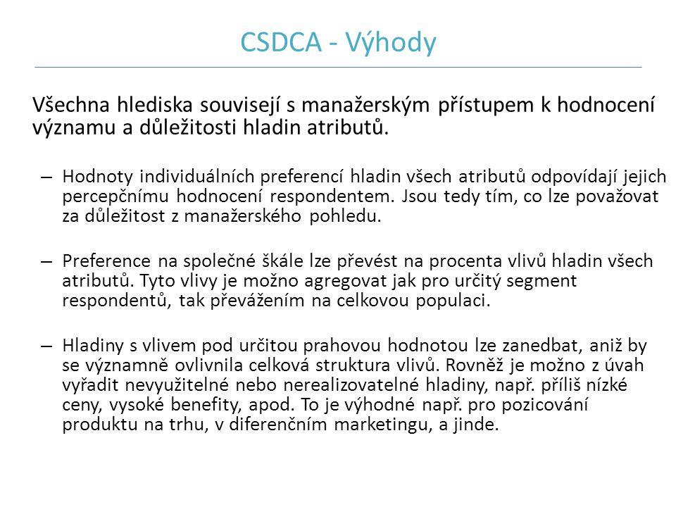 CSDCA - Výhody Všechna hlediska souvisejí s manažerským přístupem k hodnocení významu a důležitosti hladin atributů. – Hodnoty individuálních preferen