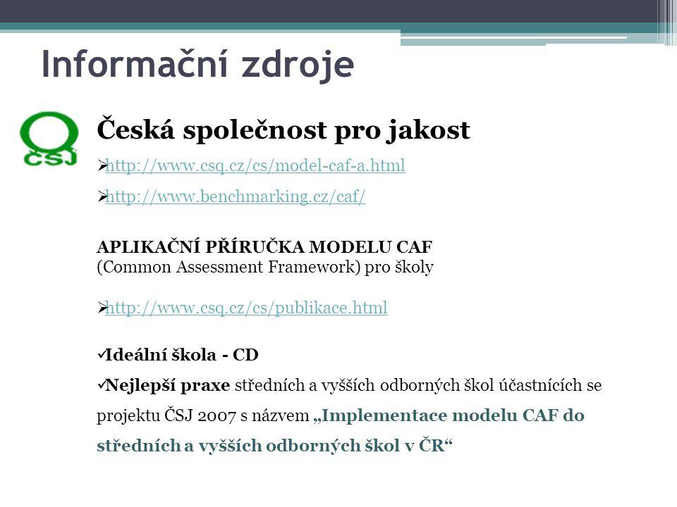 Informační zdroje Česká společnost pro jakost  http://www.csq.cz/cs/model-caf-a.html http://www.csq.cz/cs/model-caf-a.html  http://www.benchmarking.