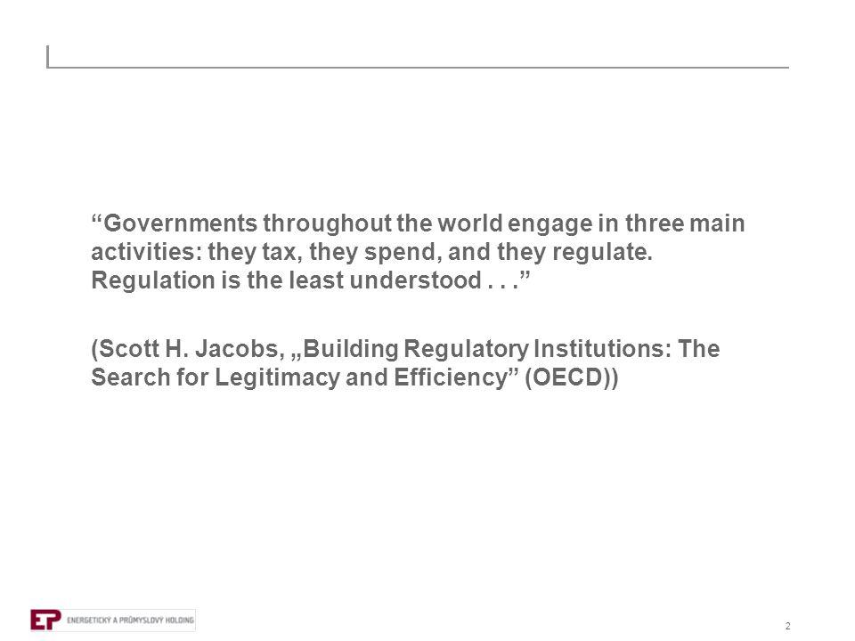 3  regulace = přímé či nepřímé ovlivňování jednání soukromých i veřejných subjektů v určitém sektoru  co je cílem.