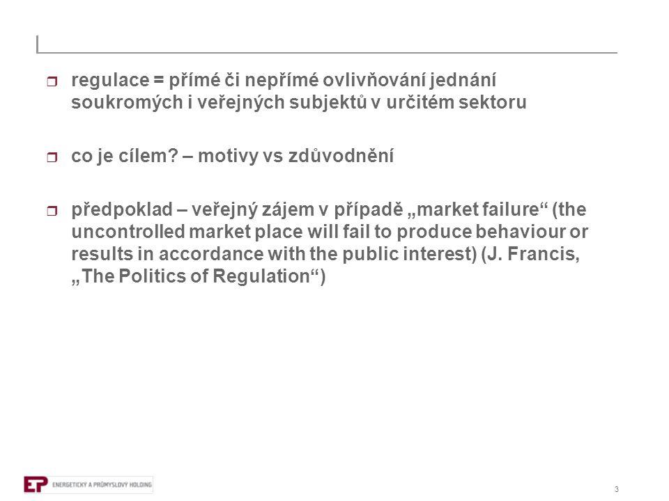 """4  konkurence = autoregulace (nejefektivnější)  ochrana konkurence = dohled (nikoli regulace) - v případě """"faulu sankce (kartely, zneužití dominance, kontrola koncentrací, veřejná podpora, veřejné zakázky)  na základě uvedeného předpokladu je místo pro regulaci tam, kde selhává působení tržních sil – síťová odvětví (přirozené monopoly)"""