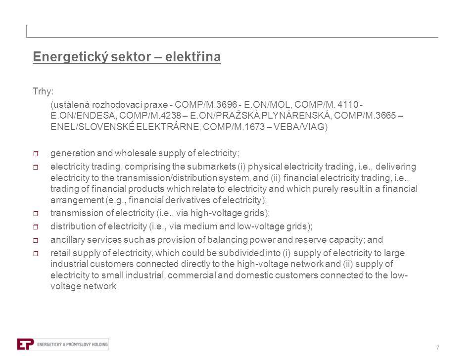 """8 Energetický sektor  Lisabonská strategie – jedna z priorit zvyšování efektivity v """"síťových odvětvích  """"revitalizace Lisabonské strategie (""""Working together for growth and jobs, a new start for the Lisbon strategy (2005)) vede k Energy Sector Inquiry (DG Comp report on energy sector inquiry (2007))  hlavní zjištění:  velká koncentrace, omezené nové vstupy na trh  nedostatečná likvidita, bránící vstupu na trh  nedostatečná integrace  nedostatečná transparence  stávající unbundling je nedostatečný  to vede k tržní síle """"incumbents"""