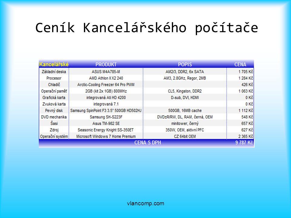 Ceník Kancelářského počítače vlancomp.com