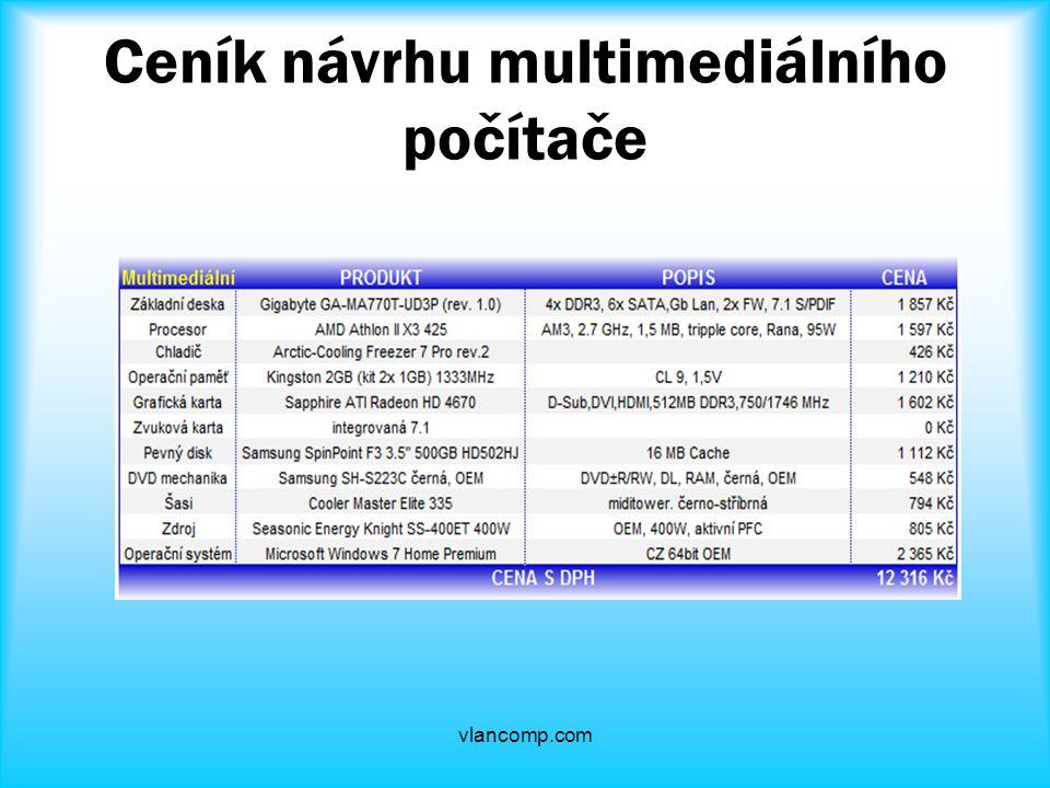 Ceník návrhu multimediálního počítače