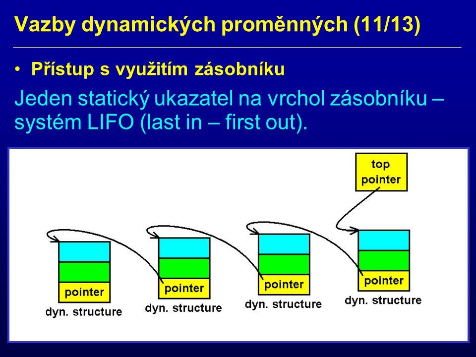 Vazby dynamických proměnných (11/13) Přístup s využitím zásobníku Jeden statický ukazatel na vrchol zásobníku – systém LIFO (last in – first out).