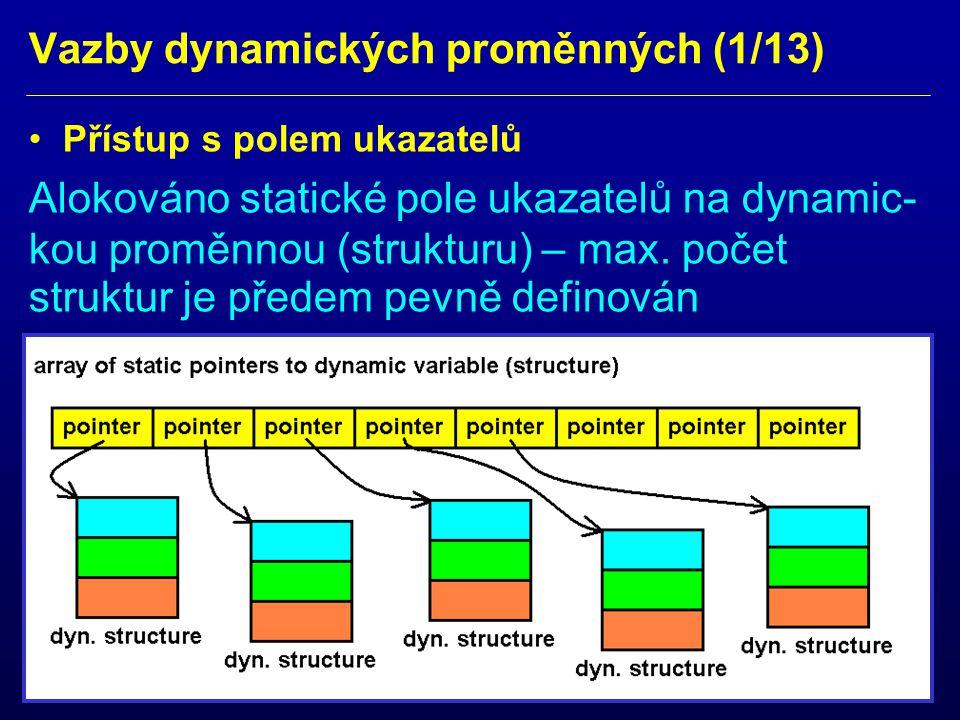 Vazby dynamických proměnných (2/13) Přístup s využitím lineárního seznamu Alokován jen první statický ukazatel na dynamickou strukturu.