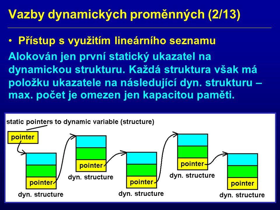 Vazby dynamických proměnných (3/13) Přístup s využitím lineárního seznamu Pro jednodušší implementaci dva statické ukazatele na první a poslední dynamickou strukturu.