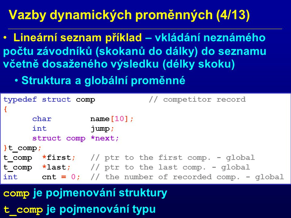 Dynamická databáze - příklad (2/5) Lineární uspořádaný seznam