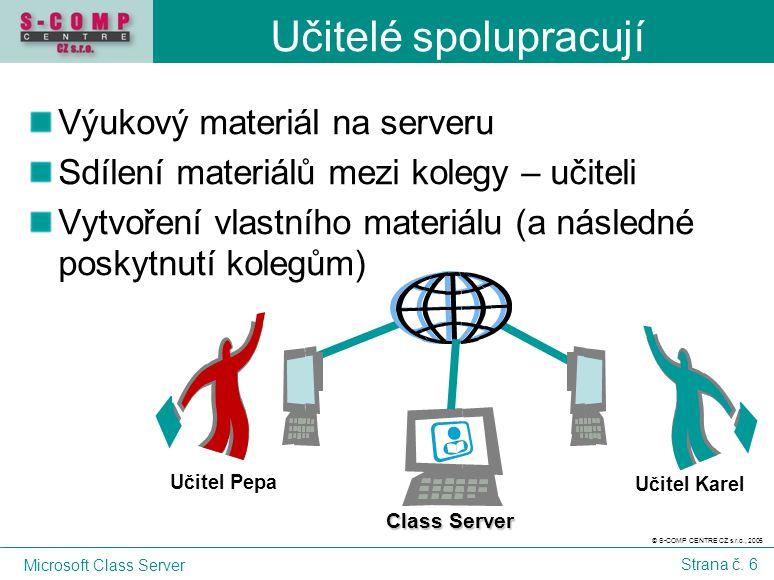 © S-COMP CENTRE CZ s.r.o., 2005 Microsoft Class Server Strana č. 6 Učitelé spolupracují Výukový materiál na serveru Sdílení materiálů mezi kolegy – uč