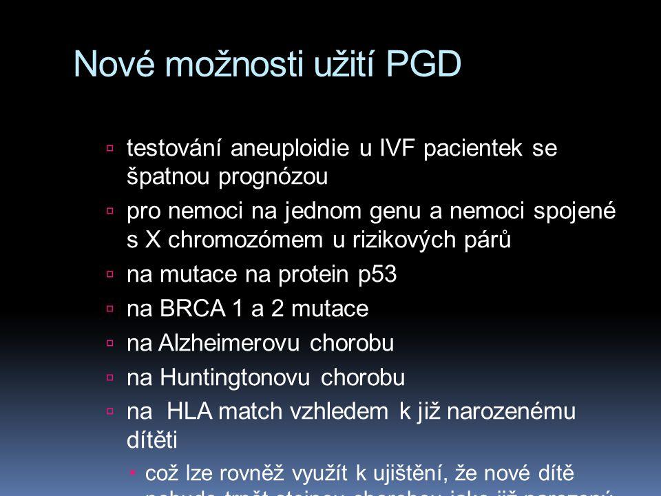 Nové možnosti užití PGD  testování aneuploidie u IVF pacientek se špatnou prognózou  pro nemoci na jednom genu a nemoci spojené s X chromozómem u rizikových párů  na mutace na protein p53  na BRCA 1 a 2 mutace  na Alzheimerovu chorobu  na Huntingtonovu chorobu  na HLA match vzhledem k již narozenému dítěti  což lze rovněž využít k ujištění, že nové dítě nebude trpět stejnou chorobou jako již narozený sourozenec