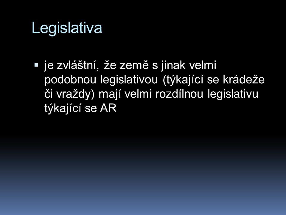 Legislativa  je zvláštní, že země s jinak velmi podobnou legislativou (týkající se krádeže či vraždy) mají velmi rozdílnou legislativu týkající se AR