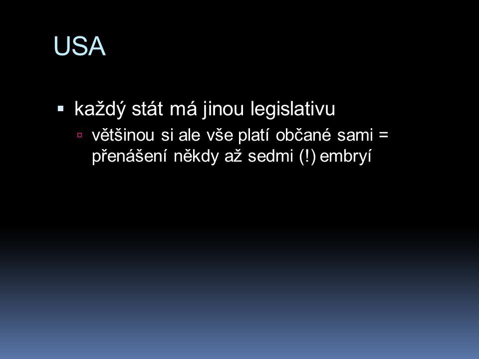 USA  každý stát má jinou legislativu  většinou si ale vše platí občané sami = přenášení někdy až sedmi (!) embryí