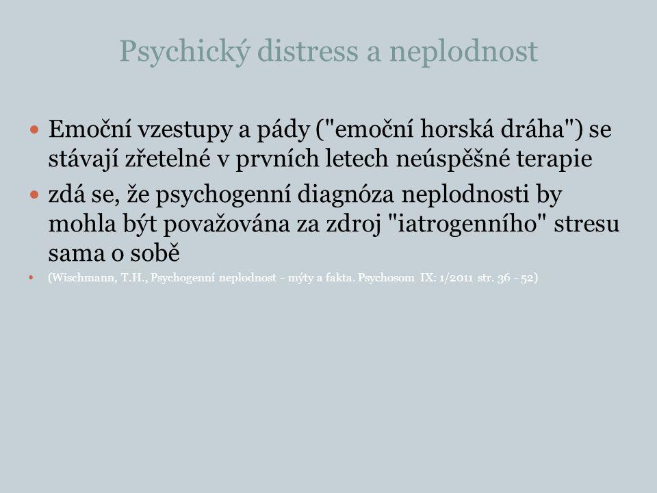 Psychický distress a neplodnost Emoční vzestupy a pády ( emoční horská dráha ) se stávají zřetelné v prvních letech neúspěšné terapie zdá se, že psychogenní diagnóza neplodnosti by mohla být považována za zdroj iatrogenního stresu sama o sobě (Wischmann, T.H., Psychogenní neplodnost - mýty a fakta.