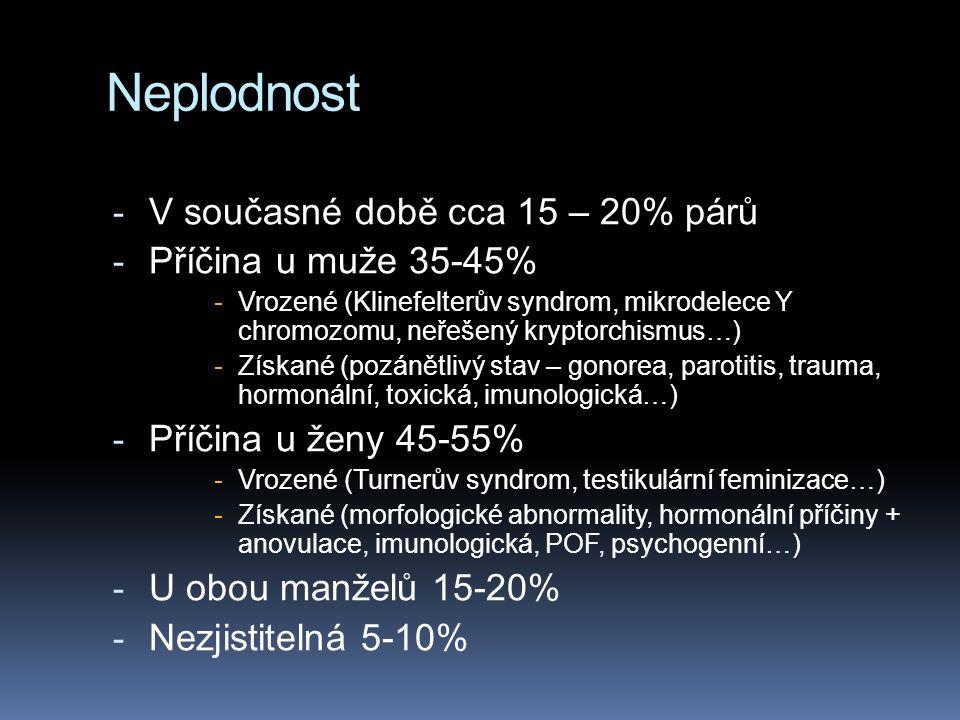 Neplodnost - V současné době cca 15 – 20% párů - Příčina u muže 35-45% -Vrozené (Klinefelterův syndrom, mikrodelece Y chromozomu, neřešený kryptorchismus…) -Získané (pozánětlivý stav – gonorea, parotitis, trauma, hormonální, toxická, imunologická…) - Příčina u ženy 45-55% -Vrozené (Turnerův syndrom, testikulární feminizace…) -Získané (morfologické abnormality, hormonální příčiny + anovulace, imunologická, POF, psychogenní…) - U obou manželů 15-20% - Nezjistitelná 5-10%