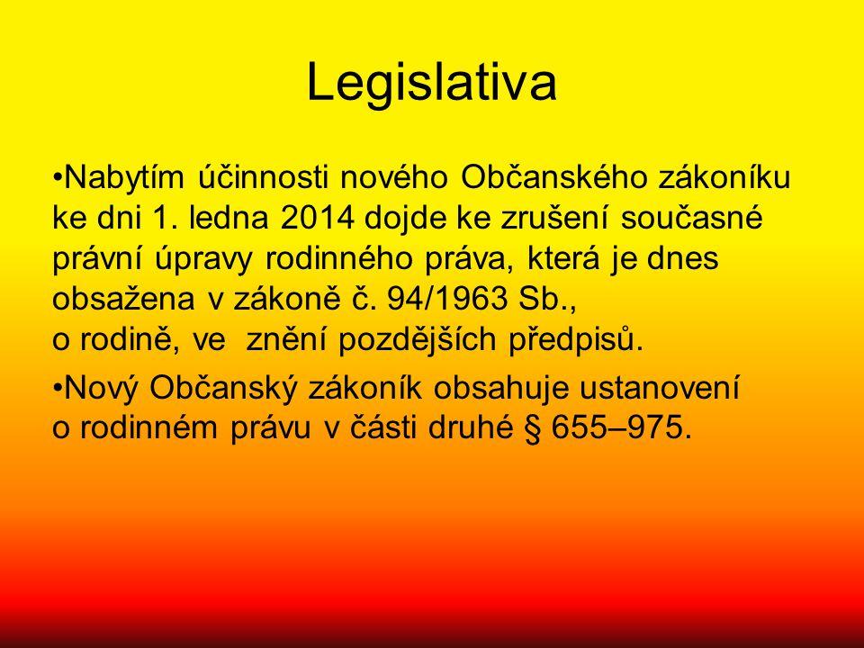 Legislativa Nabytím účinnosti nového Občanského zákoníku ke dni 1. ledna 2014 dojde ke zrušení současné právní úpravy rodinného práva, která je dnes o