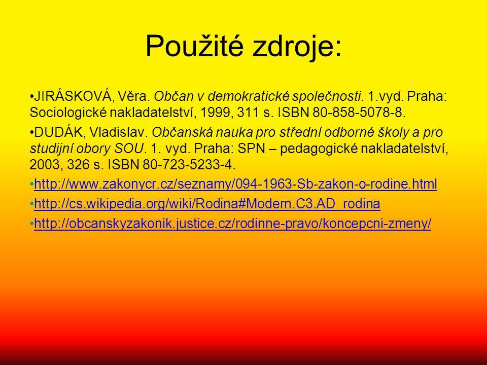 Použité zdroje: JIRÁSKOVÁ, Věra. Občan v demokratické společnosti. 1.vyd. Praha: Sociologické nakladatelství, 1999, 311 s. ISBN 80-858-5078-8. DUDÁK,