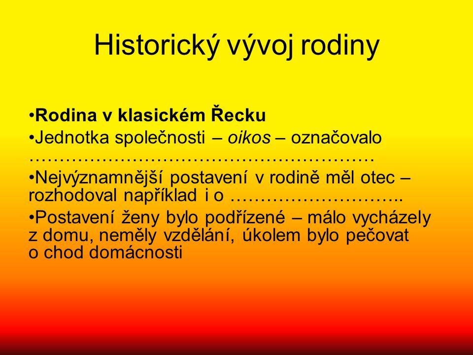 Historický vývoj rodiny Rodina v klasickém Řecku Jednotka společnosti – oikos – označovalo ………………………………………………… Nejvýznamnější postavení v rodině měl o
