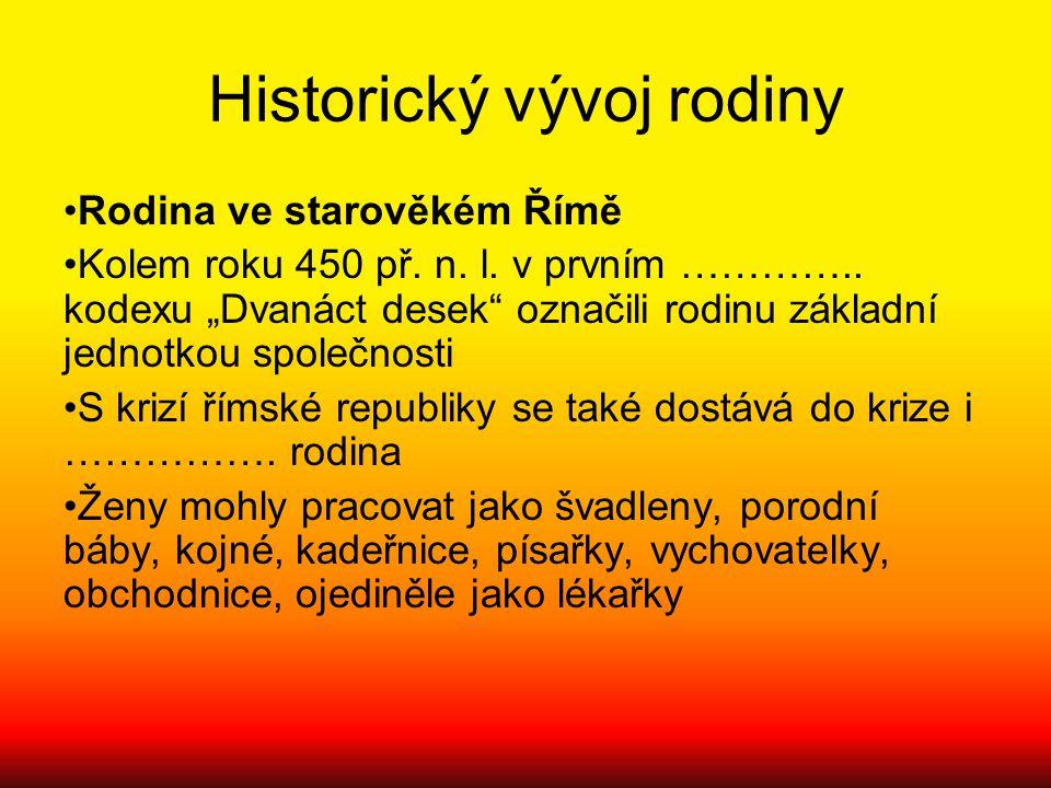 """Historický vývoj rodiny Rodina ve starověkém Římě Kolem roku 450 př. n. l. v prvním ………….. kodexu """"Dvanáct desek"""" označili rodinu základní jednotkou s"""