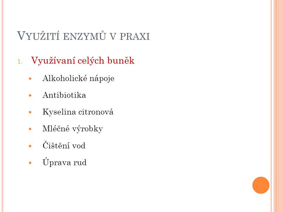 V YUŽITÍ ENZYMŮ V PRAXI 1. Využívaní celých buněk Alkoholické nápoje Antibiotika Kyselina citronová Mléčné výrobky Čištění vod Úprava rud